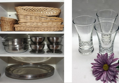 Brödkorgar, uppläggningsfat och snaps- och avecglas